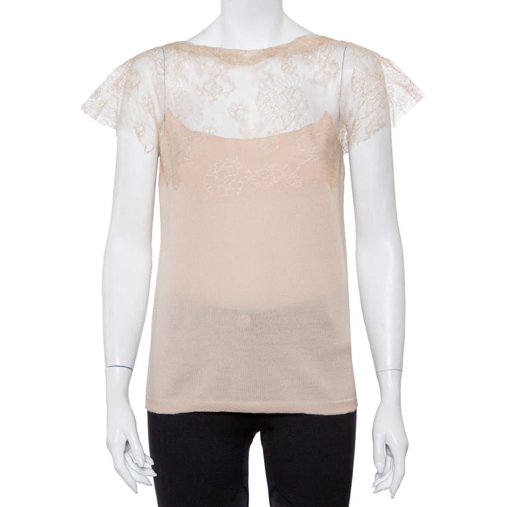 Valentino Beige Wool Knit Sheer Lace Yoke Top L