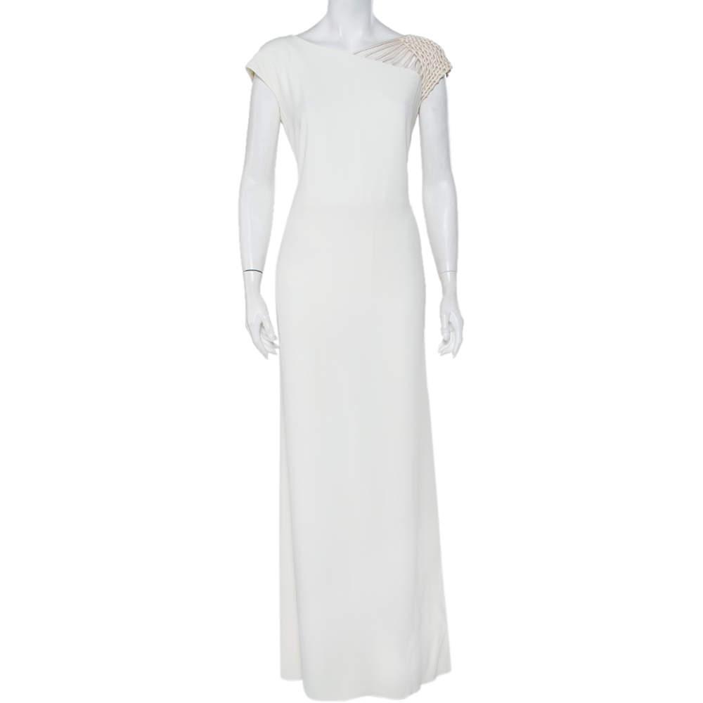 Valentino Boutique Vintage White Crepe Mesh Sleeve Detail Maxi Dress L
