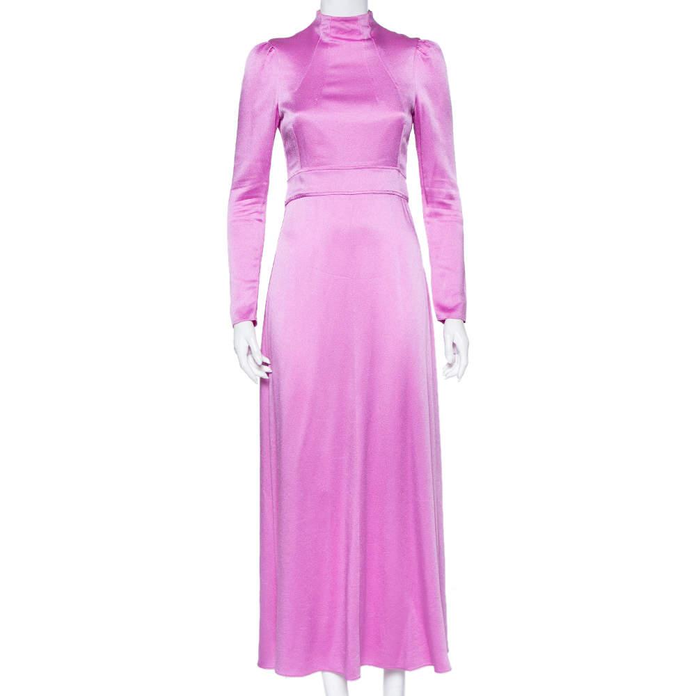 Valentino Pink Textured Satin High Neck Maxi Dress S