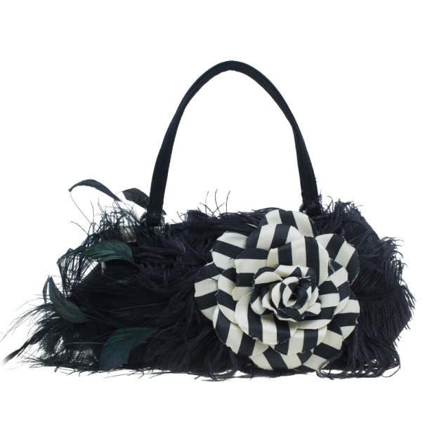 Valentino Black Leather Feather Satchel