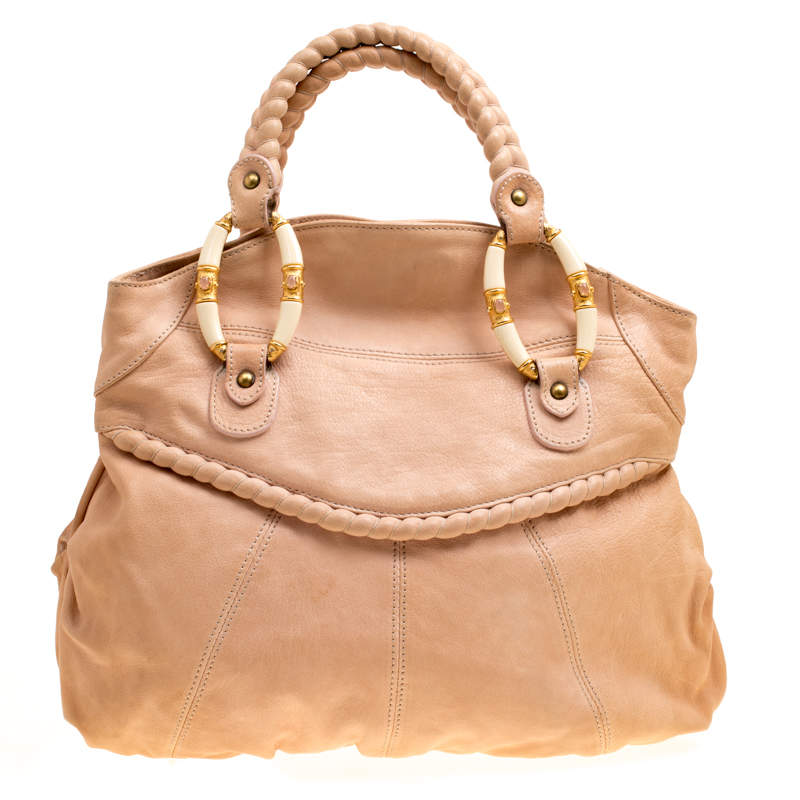 Valentino Beige Leather Braided Tote