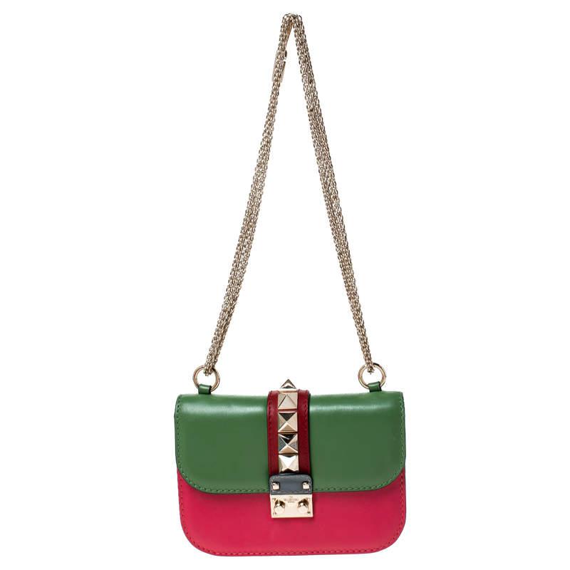Valentino Multicolor Leather Small Rockstud Glam Lock Flap Bag