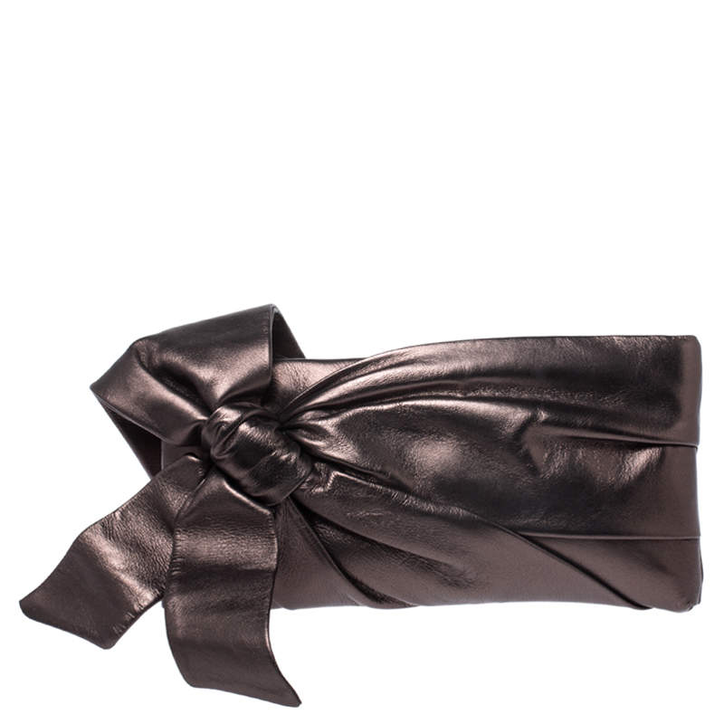 Valentino Metallic Leather Pleated Bow Clutch