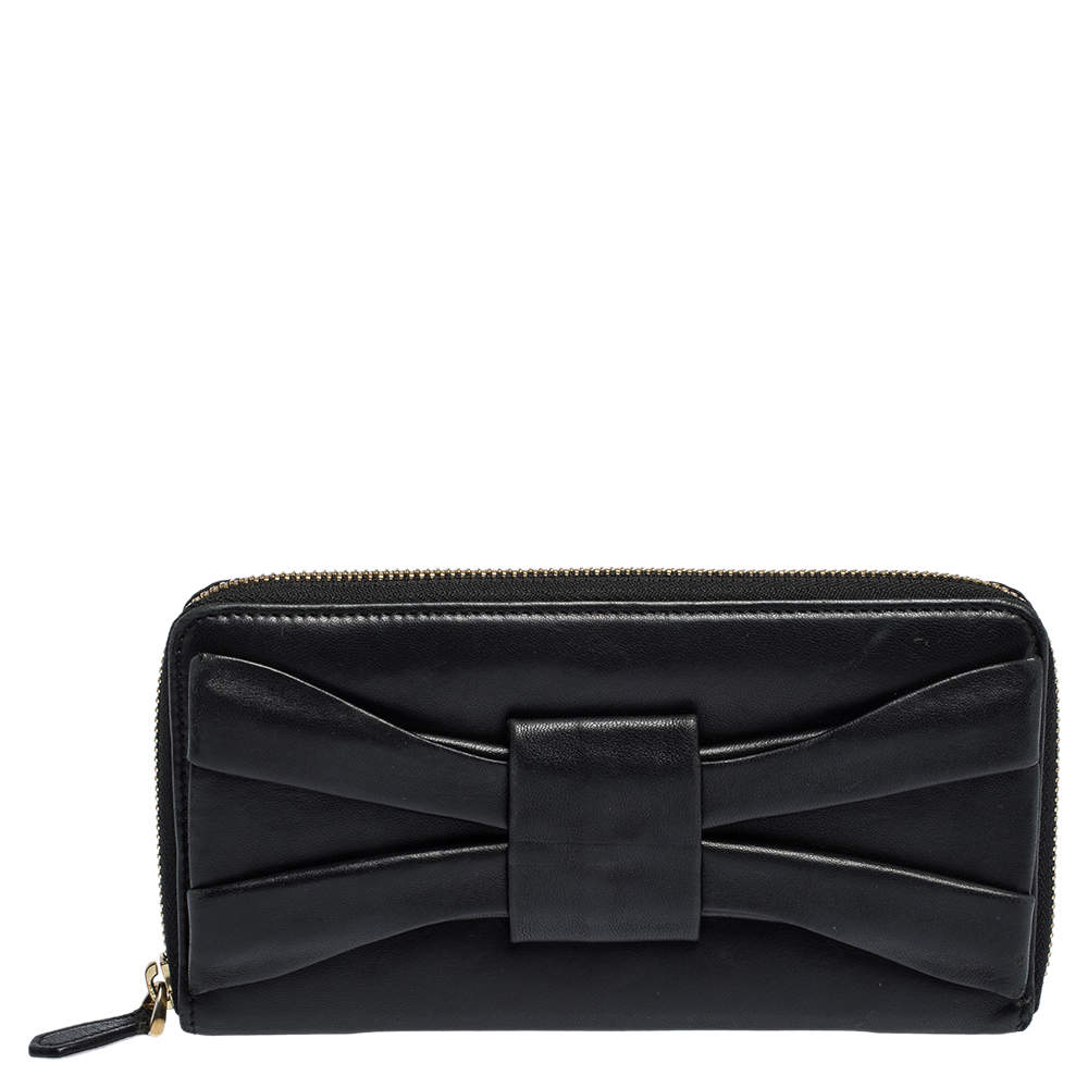 Valentino Black Leather Pleated Bow Continental Wallet
