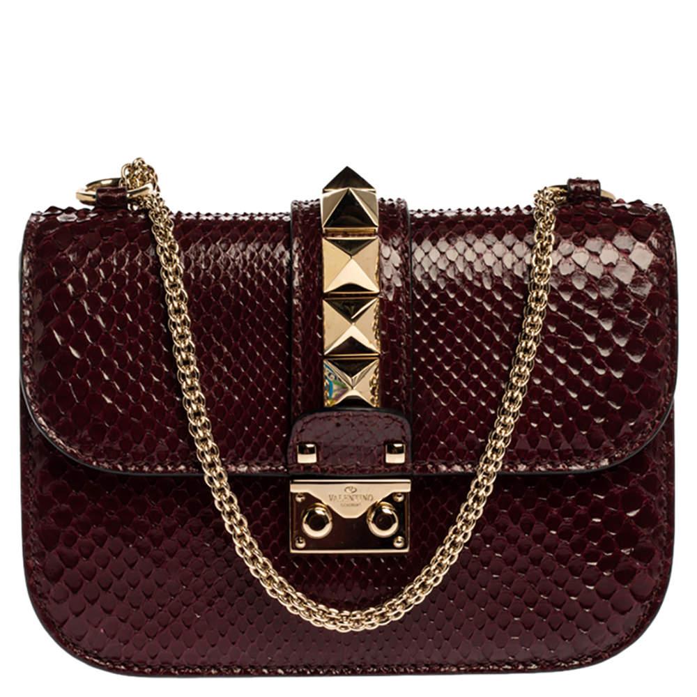 Valentino Burgundy Python Small Rockstud Glam Lock Flap Bag