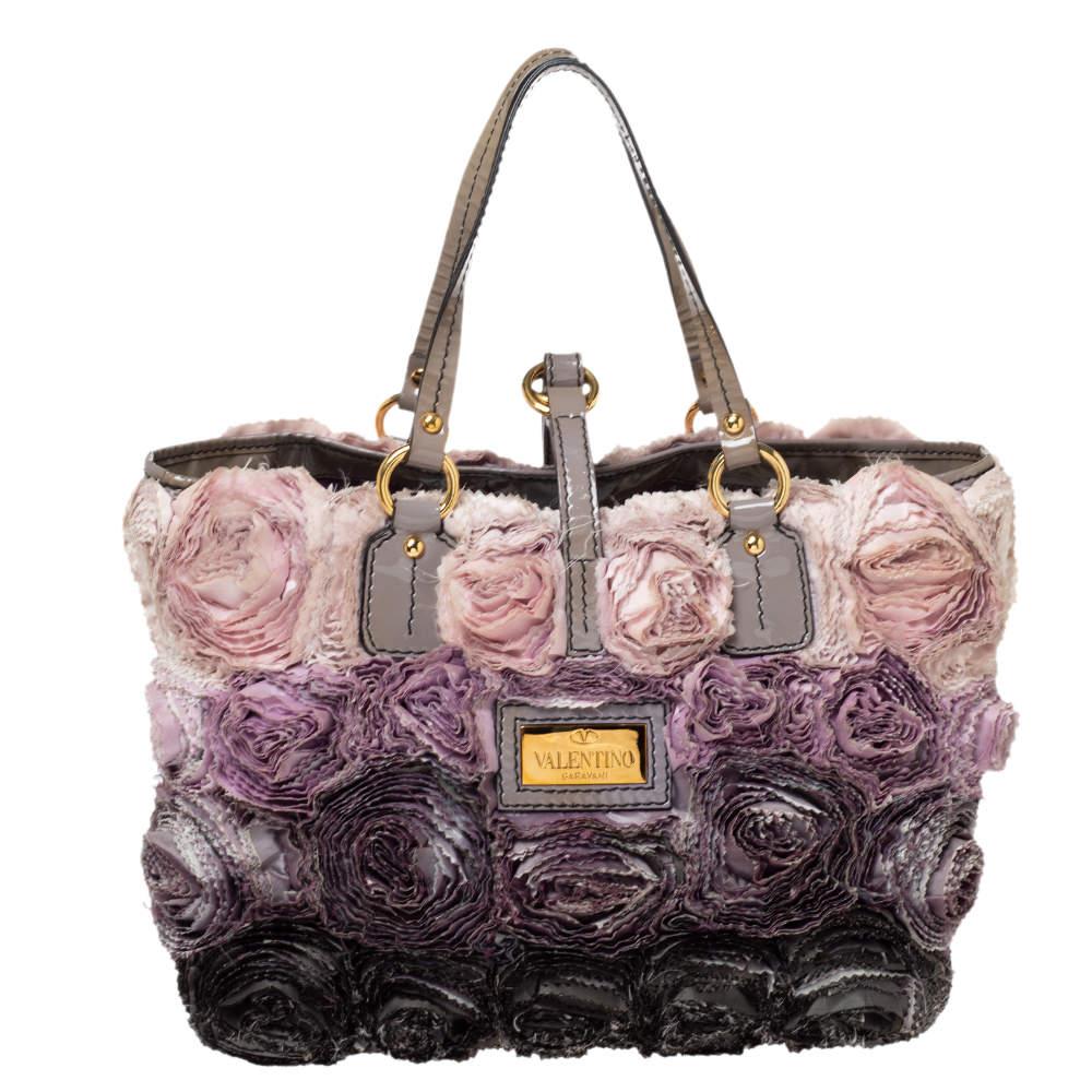 Valentino Multicolor Floral Applique Satin and Patent Leather Shopper Tote