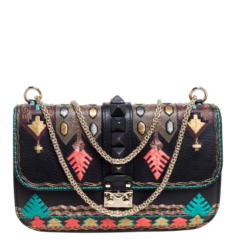 Valentino Multicolor Embroidered Leather Medium Glam Lock Flap Bag