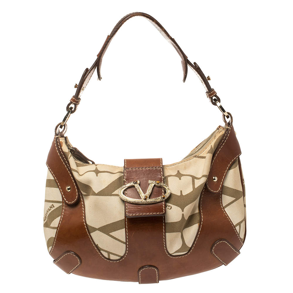 Valentino Brown/Cream Canvas and Leather Hobo
