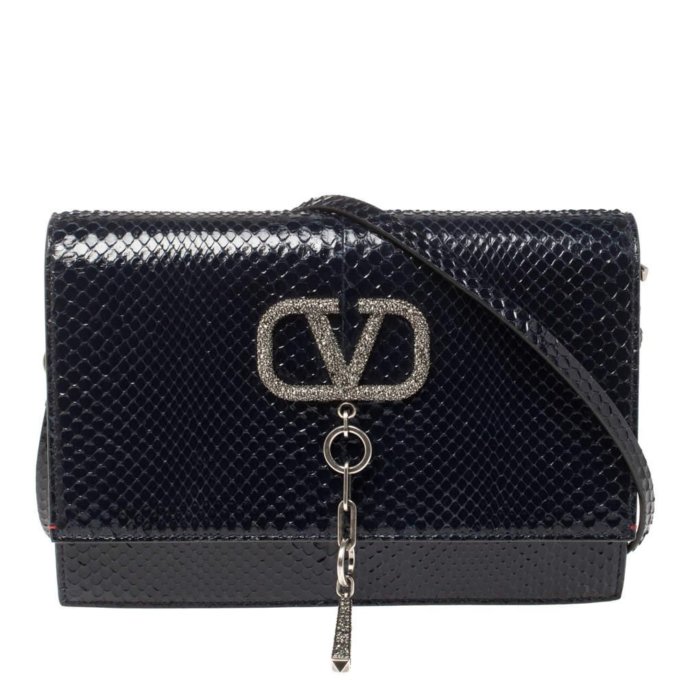 Valentino Blue Python VCASE With Swarovski Crystals Logo Shoulder Bag
