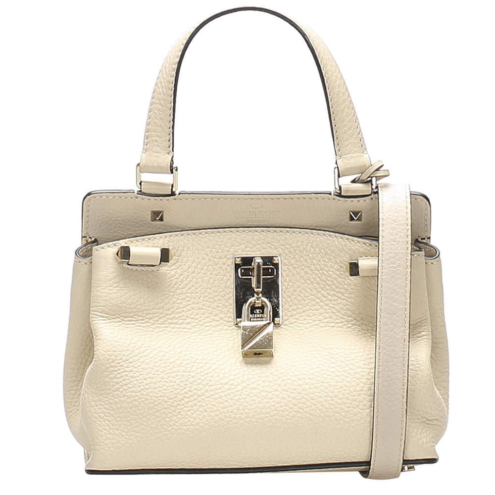 Valentino Cream Leather Joy lock Satchel Bag