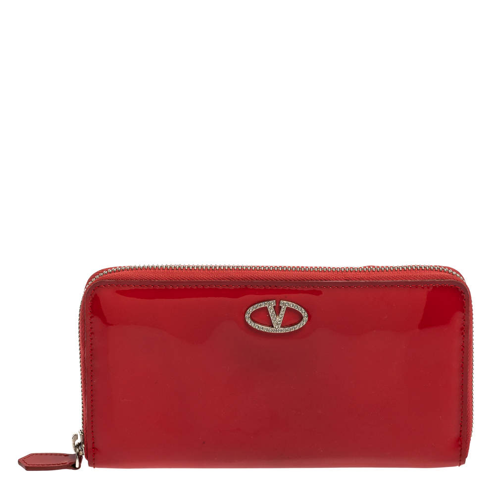 Valentino Red Patent Leather Crystal Embellished VLogo Zip Around Wallet