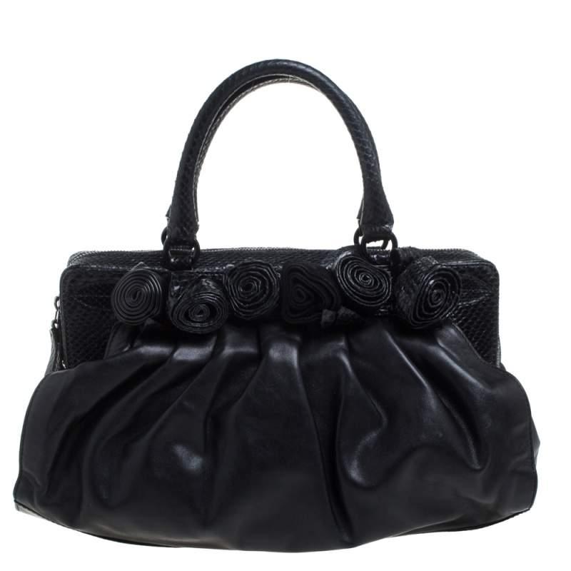 Valentino Black Leather and Snakeskin Lacca Fleur Frame Satchel