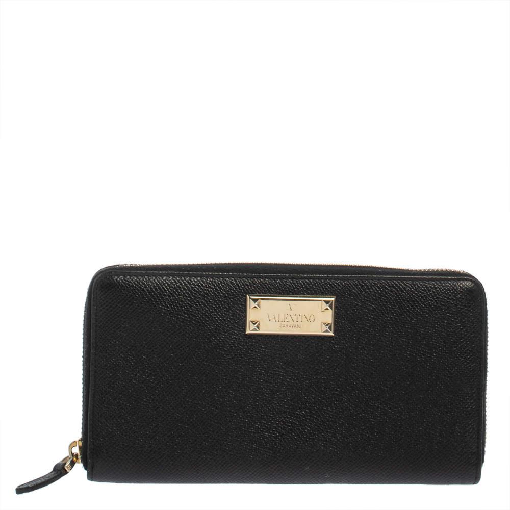 Valentino Black Grained Leather Zip Around Wallet