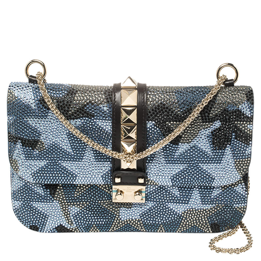 Valentino Multicolor Crystal Embellished Leather Medium Camustars Glam Lock Flap Bag