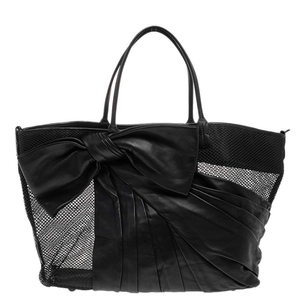 Valentino Black Leather And Mesh Bow Tote