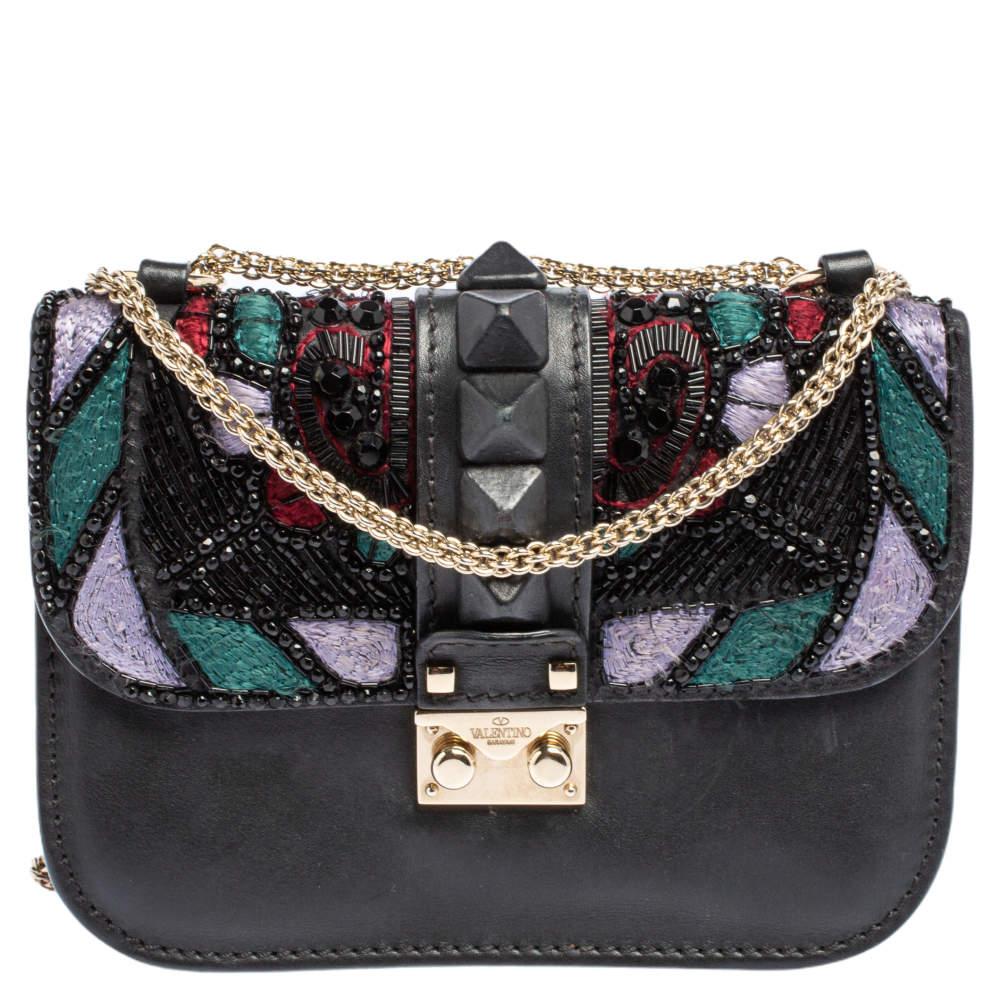 Valentino Black Leather Embellished Rockstud Glam Lock Chain Shoulder Bag