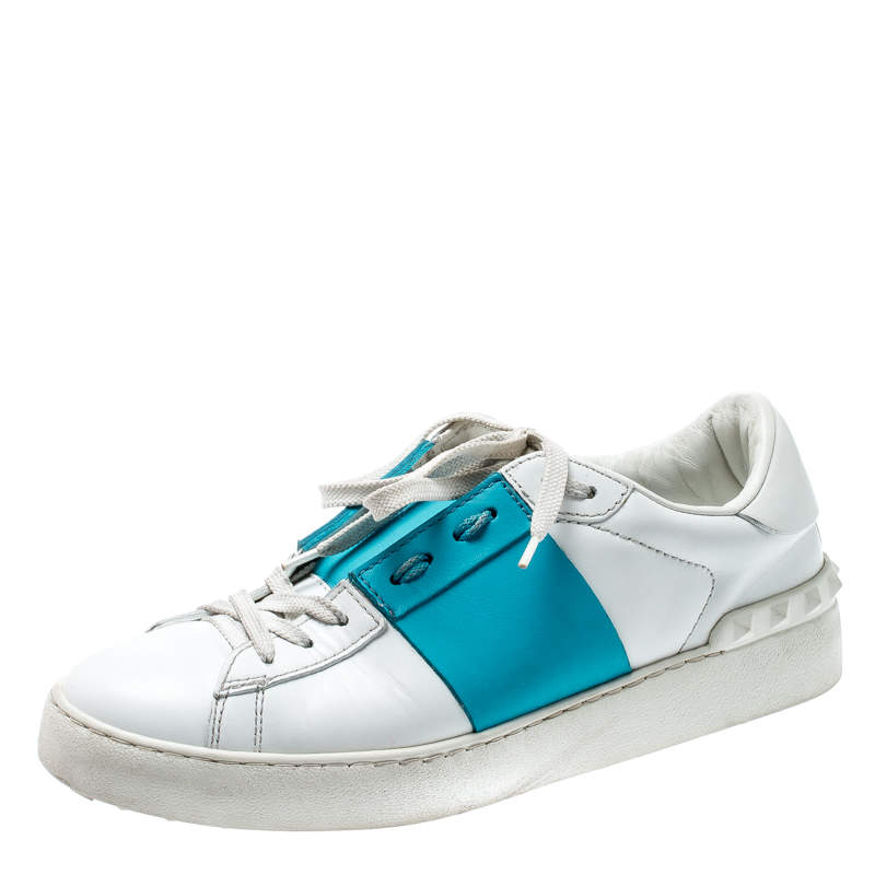Valentino White And Blue Band Leather Open Low Top Sneakers Size 39