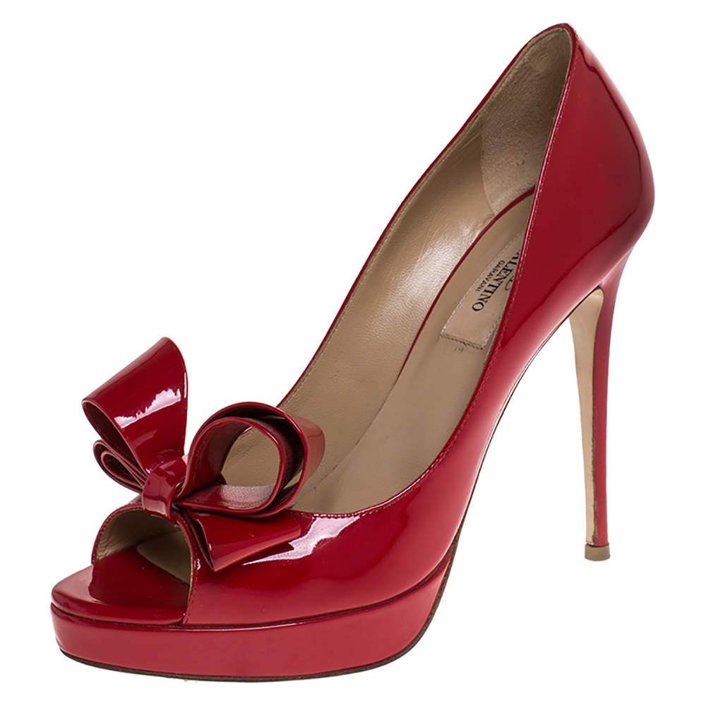 Valentino Red Patent Leather Bow Peep Toe Platform Pumps Size 38.5