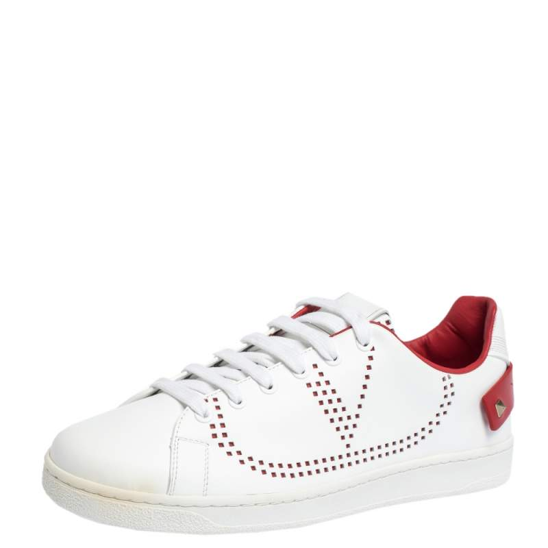 Valentino Garavani White V-Logo Leather Sneakers Size IT 40.5