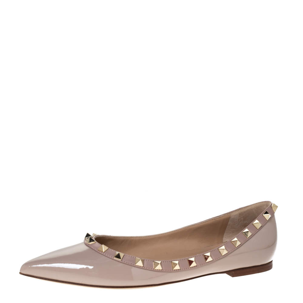 Valentino Nude Patent Leather Rockstud Ballet Flats Size 38