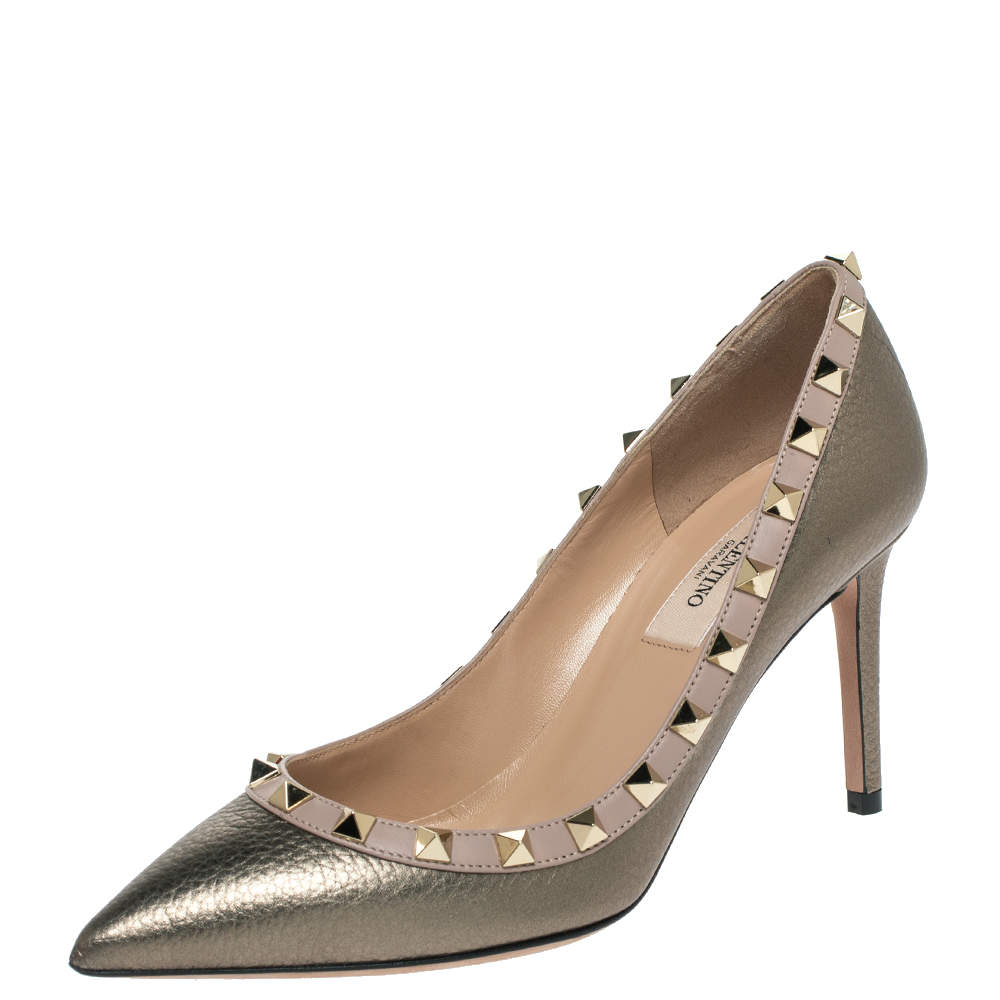 Valentino Metallic Grey Leather Rockstud Pointed Toe Pumps Size 35.5