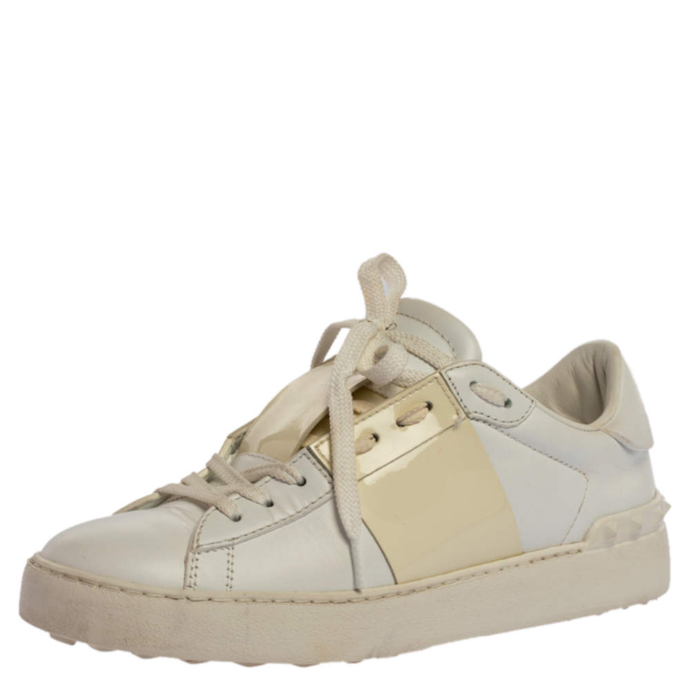 Valentino White Leather Rockstud Low Top Sneakers Size 37.5