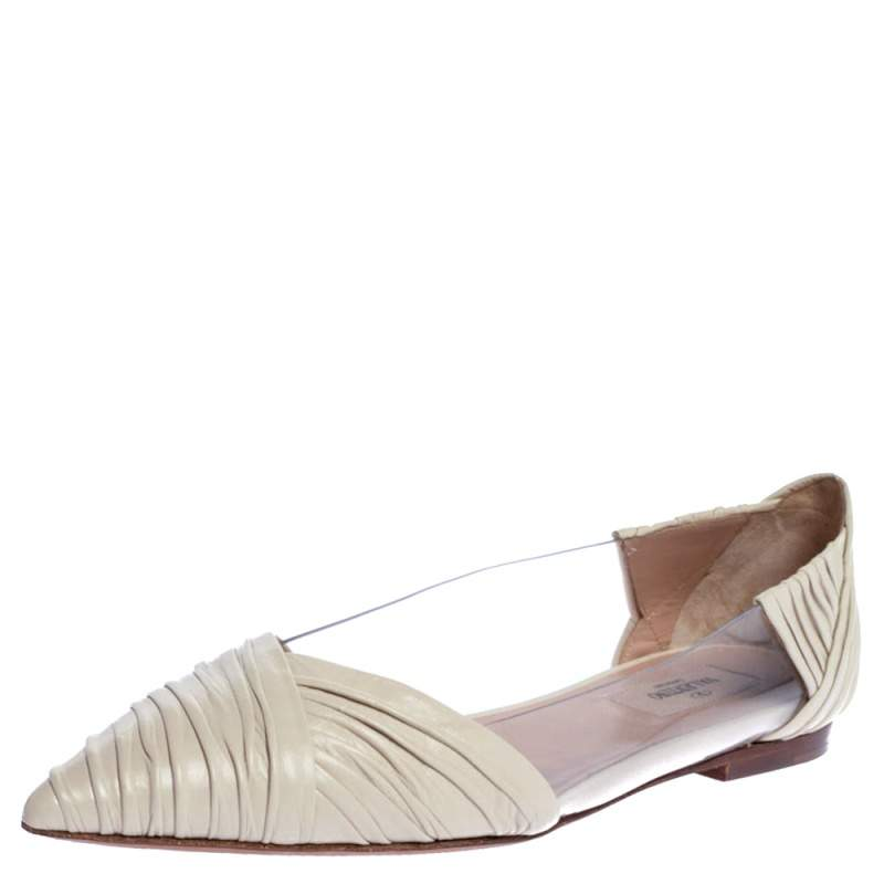 Valentino Garavani White PVC and Pleated Leather Pointed Toe Ballet Flats Size 39.5