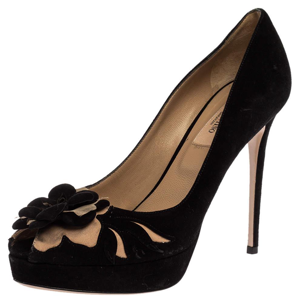 Valentino Black Suede Flower Embellished Peep Toe Platform Pumps Size 37.5