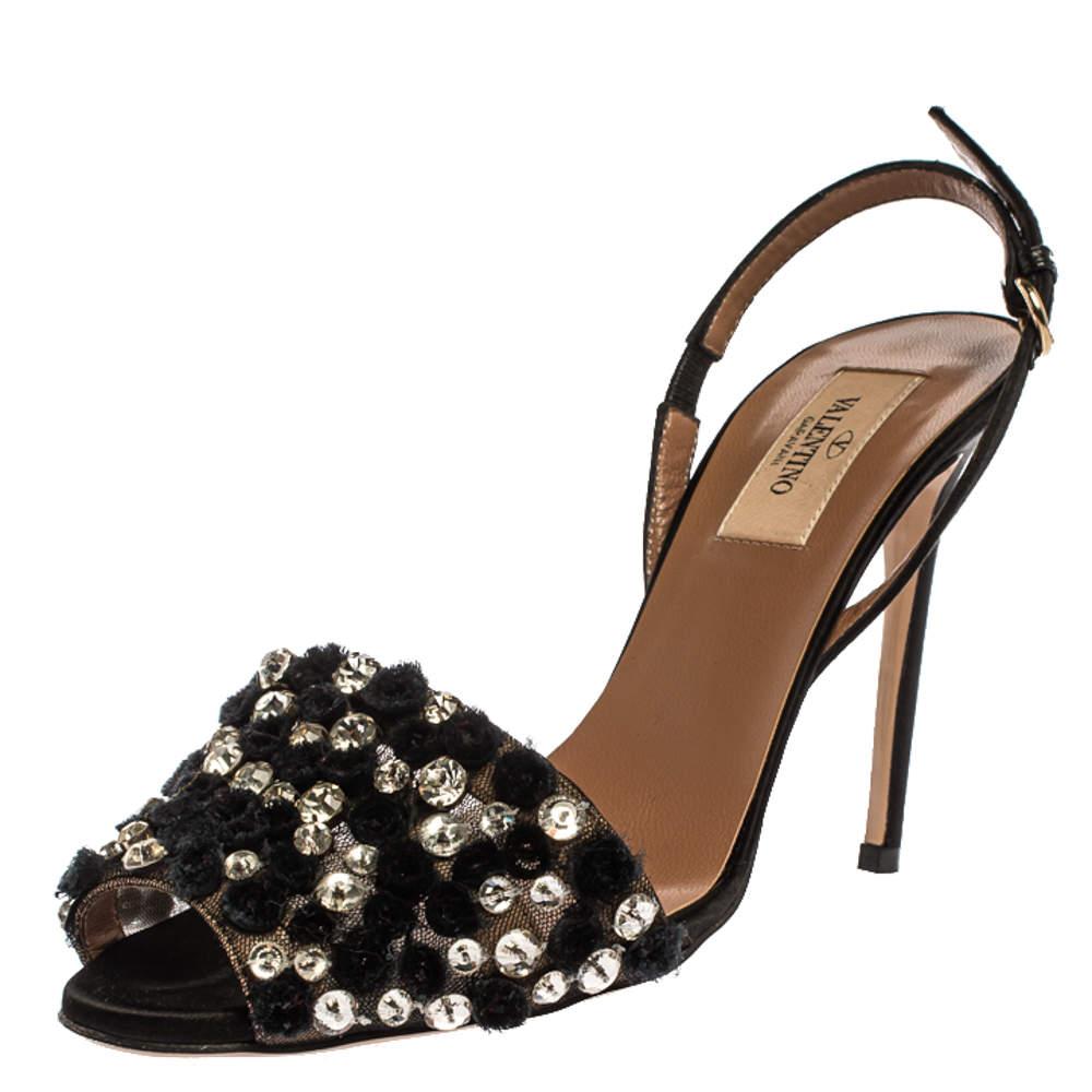 Valentino Black Crystal Embellished Mesh And Satin Ankle Strap Sandals Size 38
