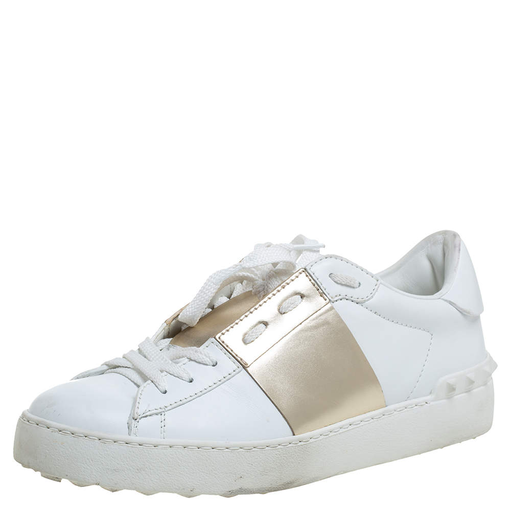 Valentino White/Gold Band Leather Open Low Top Sneakers Size 38.5