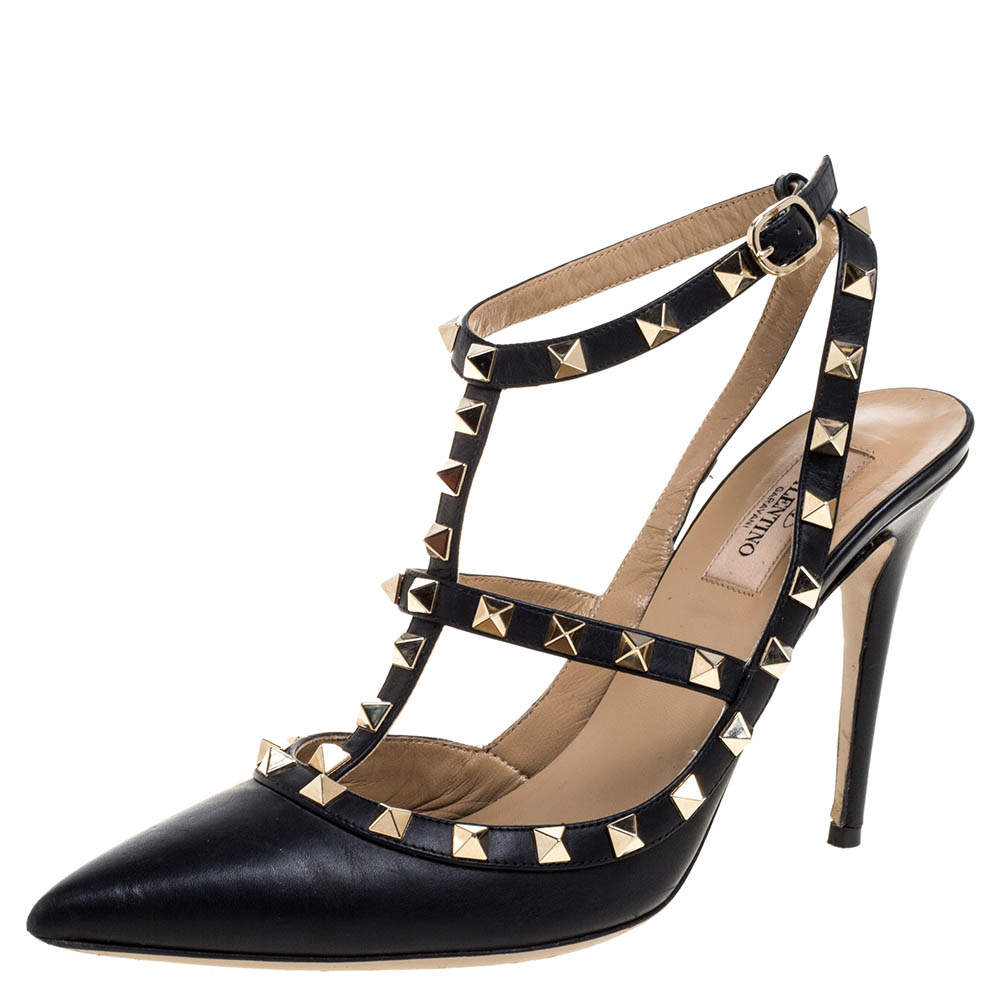 Valentino Black Leather Rockstud Accents Leather T Strap Pointed Toe Sandals Size 40