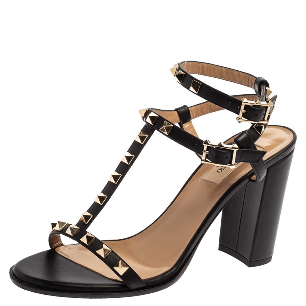 Valentino Black Leather Rockstud Block Heel Strappy Sandals Size 38
