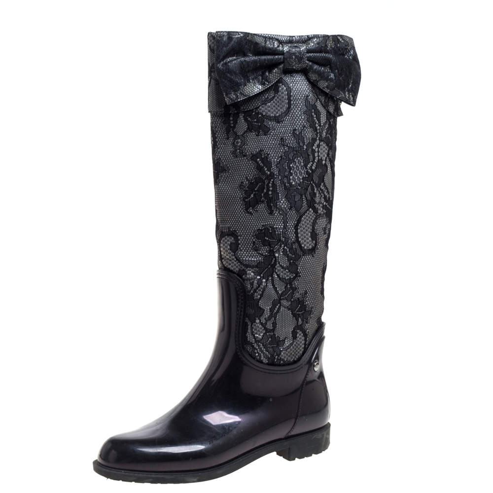 Valentino Grey/Black Lace and Rubber Rain High Boots Size 39