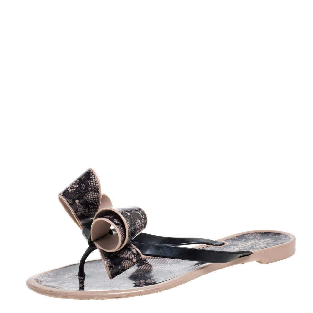 Valentino Beige/Black Lace Print PVC Bow Thong Sandals Size 37