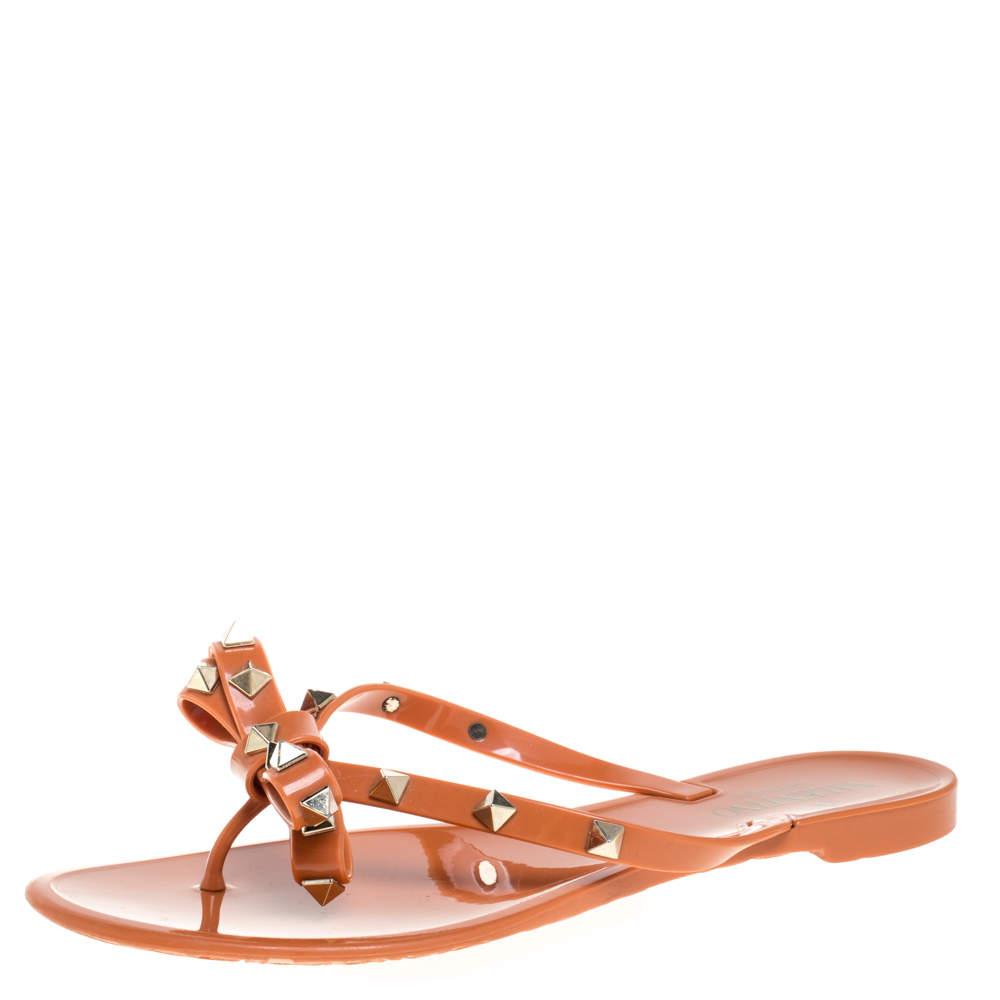Valentino Orange Jelly Bow Rockstud Flat Thong Sandals Size 38
