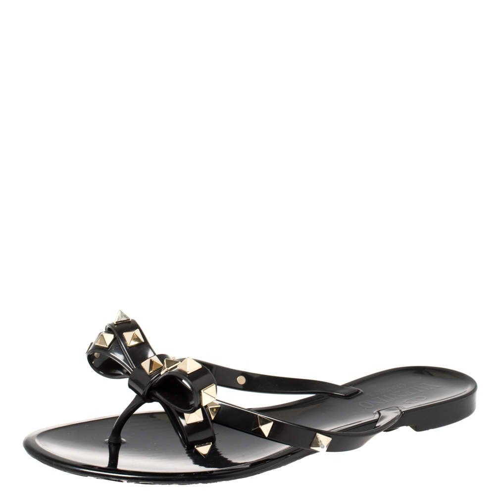 Valentino Black Rubber Rockstud Bow Thong Sandals Size 36