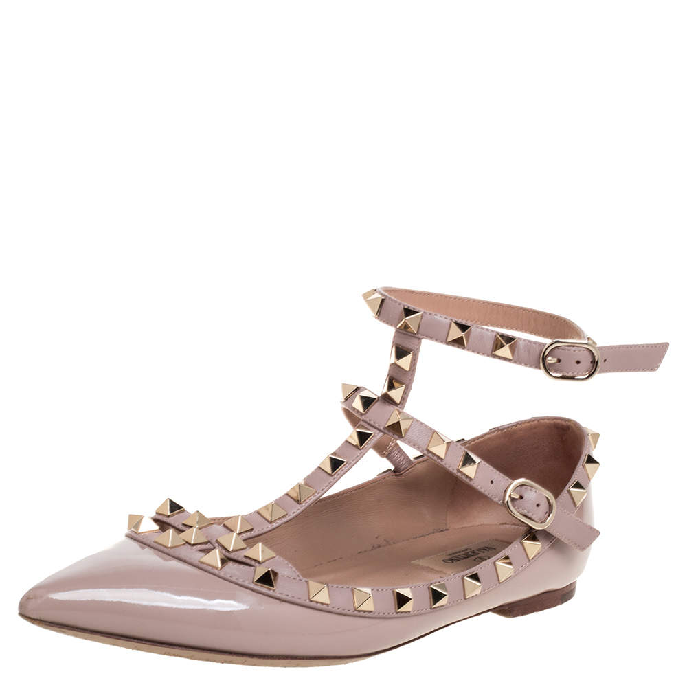 Valentino Beige Patent Leather Caged Rockstud Ballet Flats Size 37