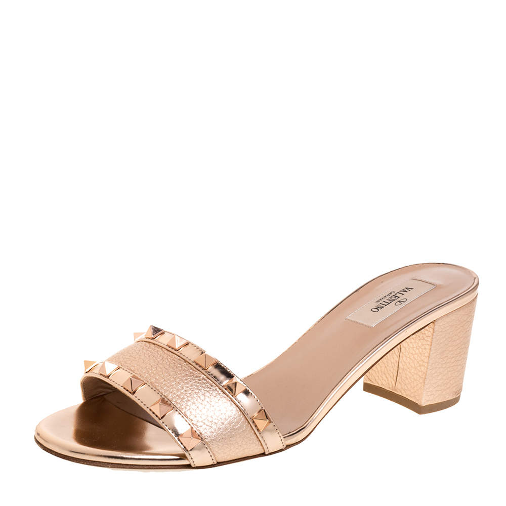Valentino Metallic Rose Gold Leather Rockstud Trim Block Heel Slide Sandals Size 40