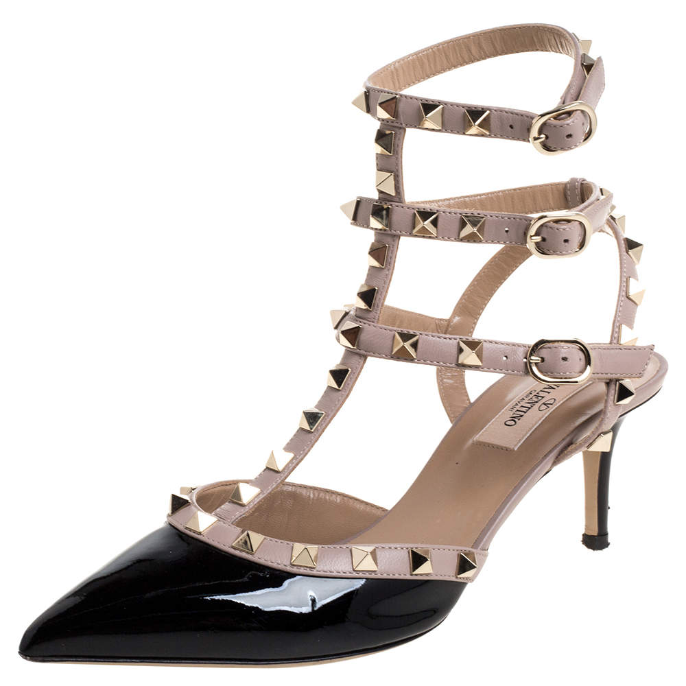 Valentino  Black/Beige Patent Leather Rockstud Caged Ankle Strap Pumps Size 38