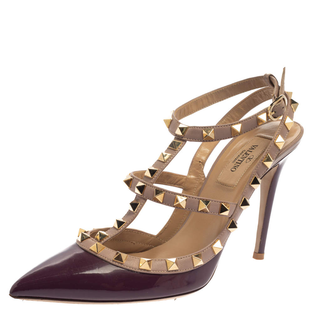 Valentino Purple Patent Leather Rockstud Ankle Strap Sandals Size 38.5