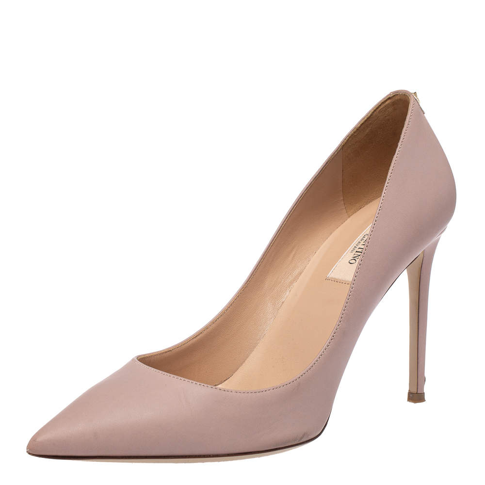 Valentino Blush Pink Leather Pointed Toe Pumps Size 39.5
