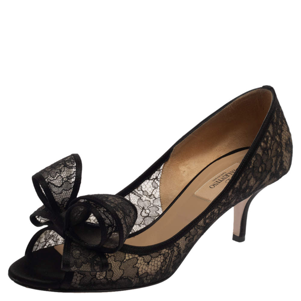 Valentino Black Lace And Satin Bow Peep Toe Pumps Size 37