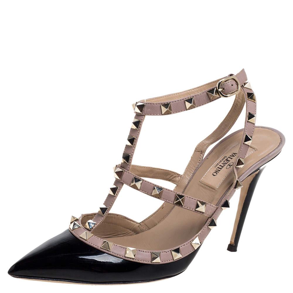 Valentino Black/Beige Patent Leather Rockstud Ankle Strap Sandal Size 38