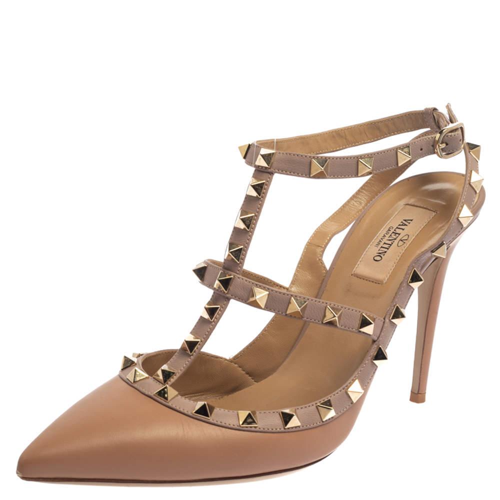 Valentino Beige Leather Rockstud Ankle Strap Sandals Size 40