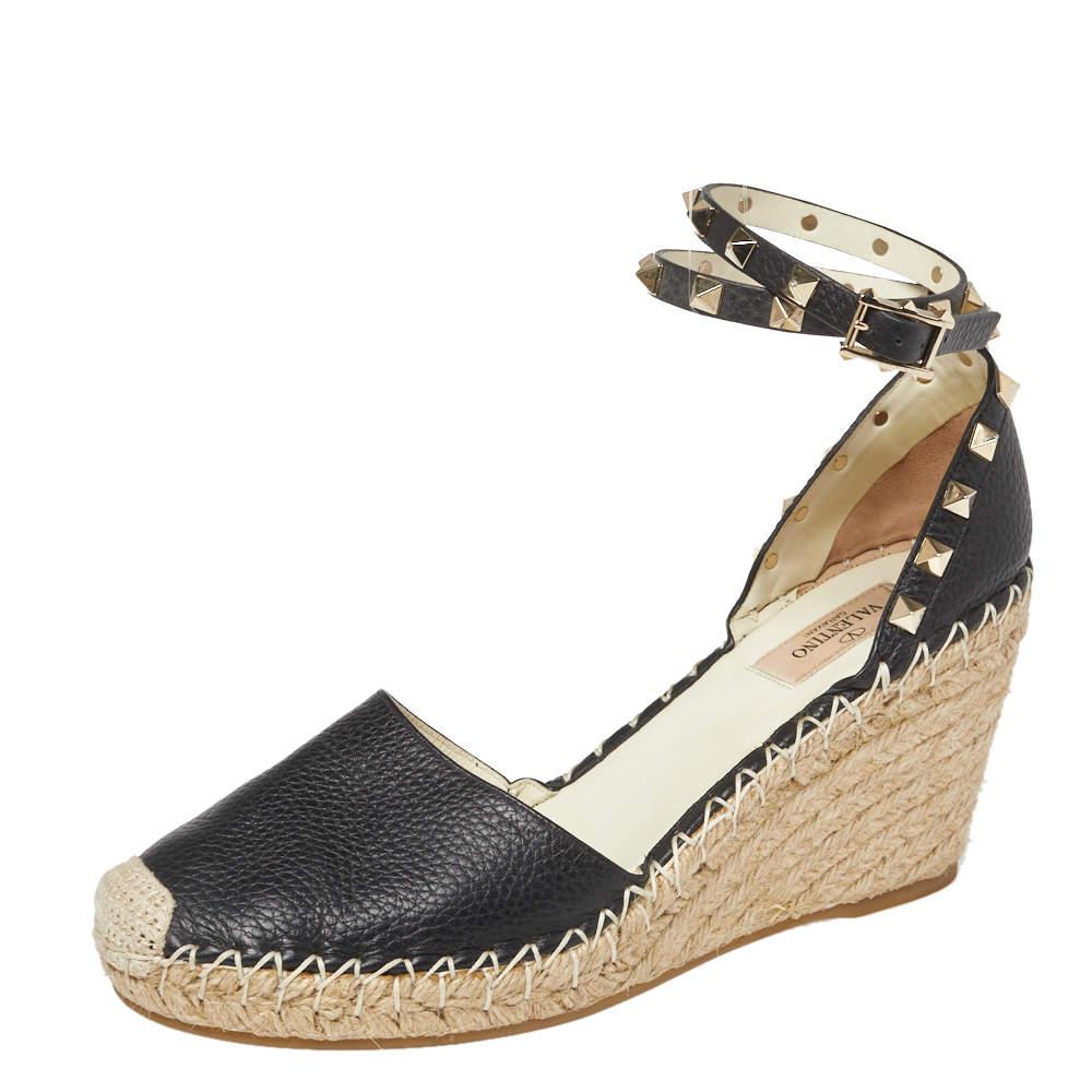 Valentino Black Leather Rockstud Ankle Strap Wedge Espadrille Sandals Size 40