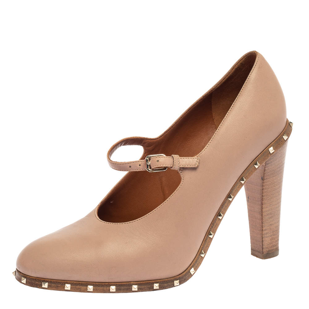 Valentino Pink Leather Soul Rockstud Mary Jane Pumps Size 37