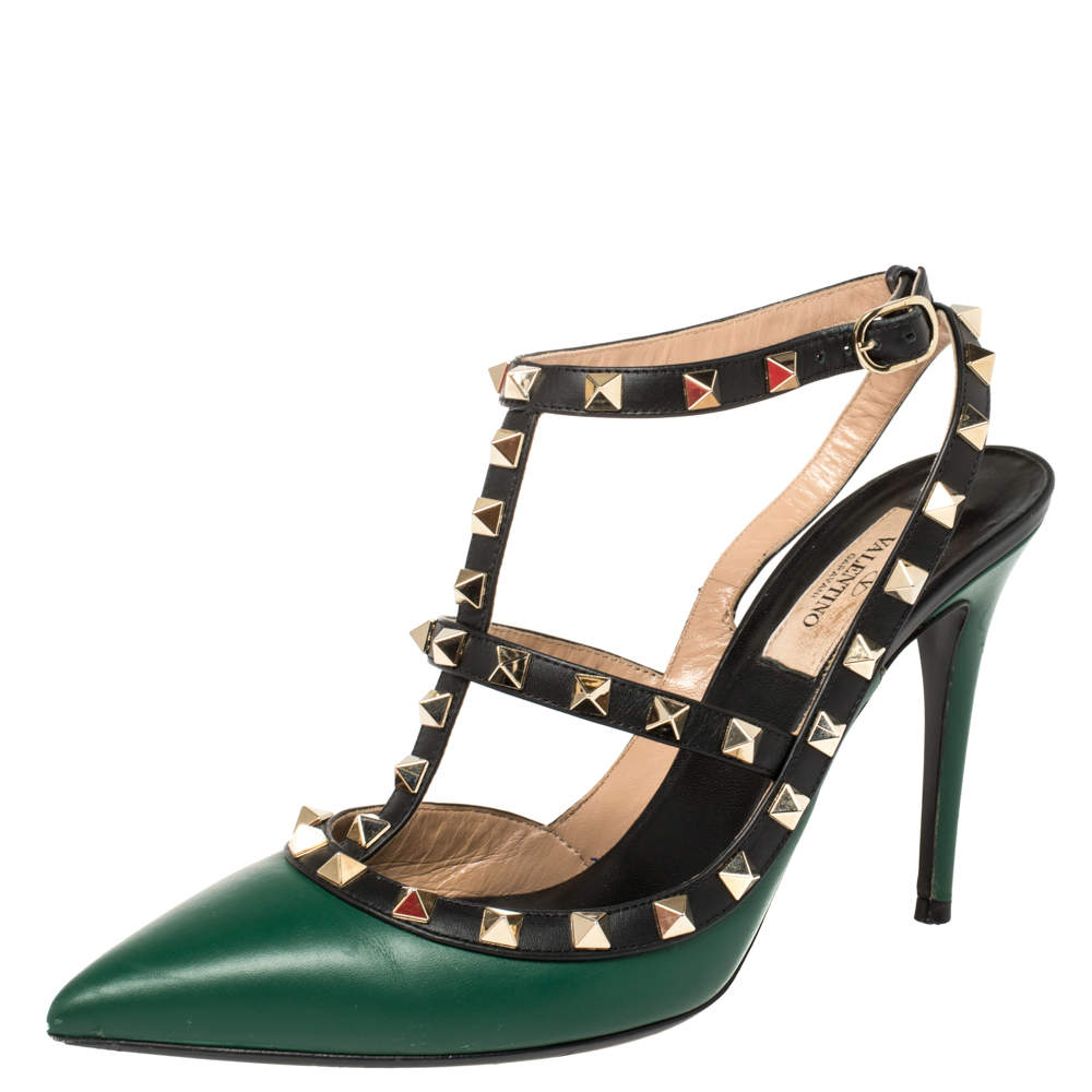 Valentino Green Leather Rockstud Ankle Strap Cage Sandals Size 38.5