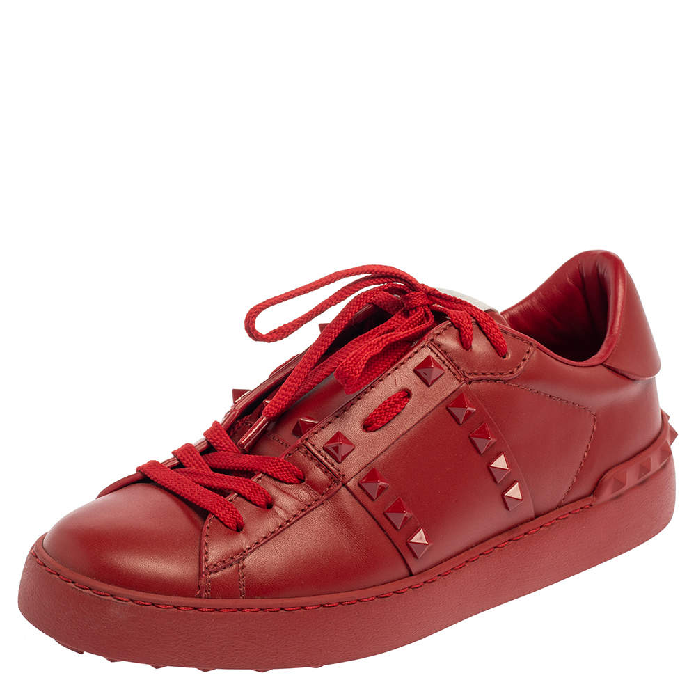 Valentino Red Leather Rockstud Untitled Rosso Low Top Sneakers Size 38