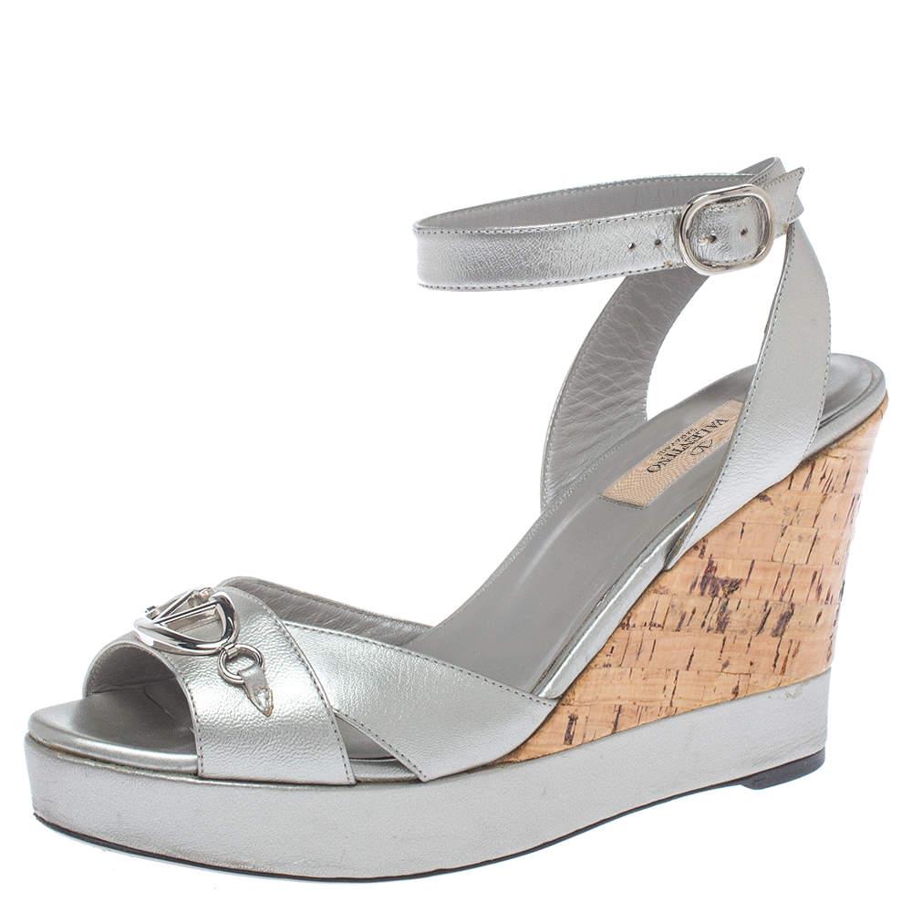 Valentino Metallic Silver Leather V Logo Platform Wedge Ankle Wrap  Sandals Size 38.5