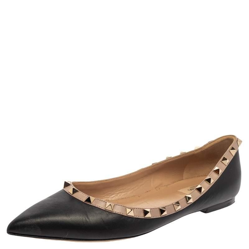 Valentino Black Leather Rockstud Ballet Flats Size 40